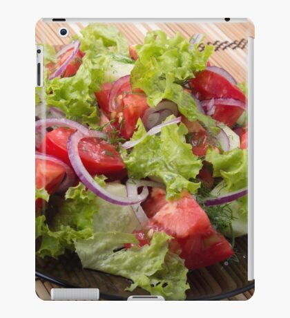 View angle on a fragment of vegetarian salad from fresh vegetables iPad Case/Skin