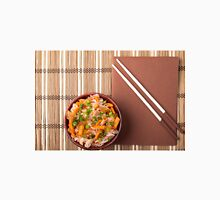 Top view on a portion of rice vermicelli hu-teu in a small brown wooden bowl Unisex T-Shirt