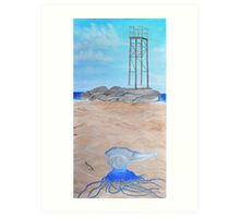 Stranded bluebottle jelly fish at redhead beach Newcastle Art Print