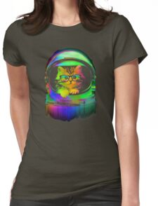 Cool kitten on the helmet Womens Fitted T-Shirt