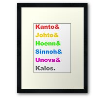 Pokemon Regions Framed Print