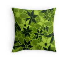 Green Vintage Trendy Floral Pattern Throw Pillow