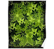 Green Vintage Trendy Floral Pattern Poster