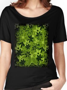 Green Vintage Trendy Floral Pattern Women's Relaxed Fit T-Shirt