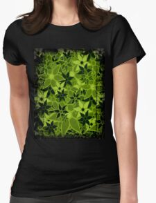 Green Vintage Trendy Floral Pattern Womens Fitted T-Shirt