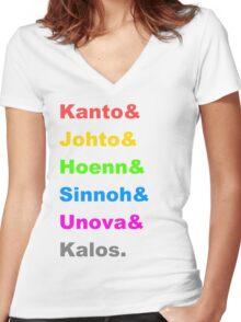 Pokemon Regions Women's Fitted V-Neck T-Shirt