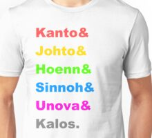 Pokemon Regions Unisex T-Shirt
