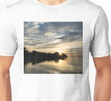 Pale Gold Sunrays - A Cloudy Sunrise with Two Ducks Unisex T-Shirt
