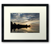 Pale Gold Sunrays - A Cloudy Sunrise with Two Ducks Framed Print