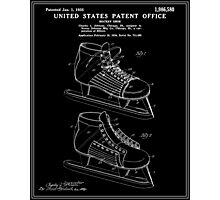Hockey Skate Patent - Black Photographic Print