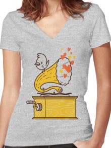 Phonograph and the Bird Women's Fitted V-Neck T-Shirt