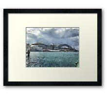 Cruise ship below Sydney harbour bridge Framed Print