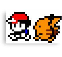 Shiny 8-bit Ash and Pikachu Canvas Print