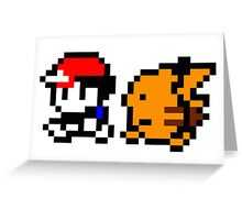 Shiny 8-bit Ash and Pikachu Greeting Card
