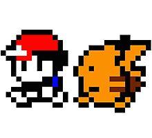 Shiny 8-bit Ash and Pikachu Photographic Print