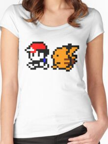 Shiny 8-bit Ash and Pikachu Women's Fitted Scoop T-Shirt