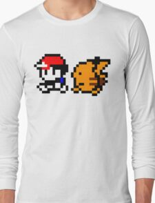 Shiny 8-bit Ash and Pikachu Long Sleeve T-Shirt