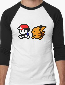 Shiny 8-bit Ash and Pikachu Men's Baseball ¾ T-Shirt