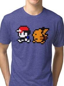 Shiny 8-bit Ash and Pikachu Tri-blend T-Shirt