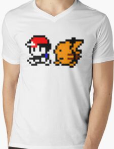 Shiny 8-bit Ash and Pikachu Mens V-Neck T-Shirt