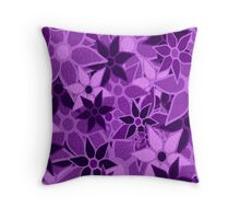Purple Vintage Trendy Floral Pattern Throw Pillow