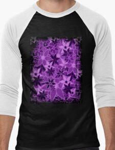 Purple Vintage Trendy Floral Pattern Men's Baseball ¾ T-Shirt
