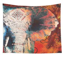 Sketched Elephant Wall Tapestry