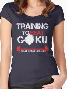 Training To Beat G0ku - at least krillin Women's Fitted Scoop T-Shirt