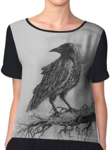 The Crow Against the Moon Chiffon Top
