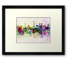Paris skyline in watercolor background Framed Print