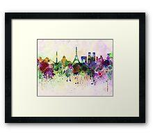 Paris skyline in watercolor background Framed Print