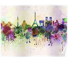 Paris skyline in watercolor background Poster
