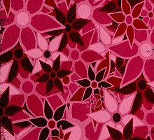 Red Vintage Trendy Floral Pattern by Nhan Ngo