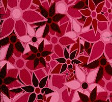 Red Vintage Trendy Floral Pattern by Nhan Ngo