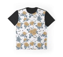 Seamless flowers of brown roses pattern with black dots, circles on white background Graphic T-Shirt