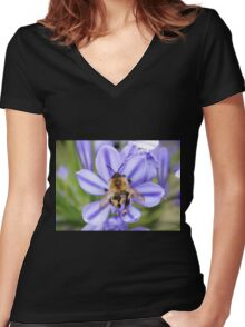 Bumble Bee on Allium Women's Fitted V-Neck T-Shirt