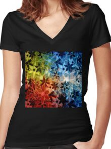 Colorful Vintage Trendy Floral Pattern Women's Fitted V-Neck T-Shirt
