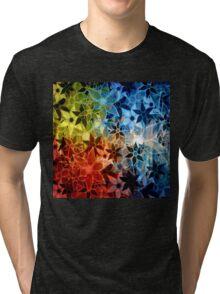 Colorful Vintage Trendy Floral Pattern Tri-blend T-Shirt