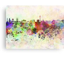 Berlin skyline in watercolor background Metal Print