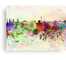 Berlin skyline in watercolor background Canvas Print