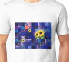 Sunflowers And Squares Decorative Design  Unisex T-Shirt