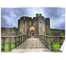 Caerphilly Castle Gatehouse in South Wales Poster
