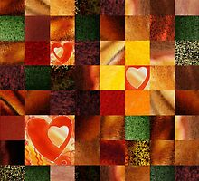 Hearts And Squares Decorative Design by Irina Sztukowski