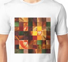 Hearts And Squares Decorative Design Unisex T-Shirt