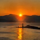 Mount Vesuvius and the lighthouse, bay of Naples at Sunrise by buttonpresser