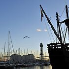 Sailing ship, Dusk, Port of Barcelona, Spain by buttonpresser
