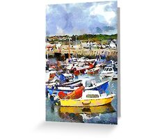 Boats in West Bay Harbour, Dorset, UK Greeting Card