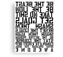 Training Rules - Black Mirrored Canvas Print