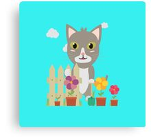 Cat in the garden with flowers   Canvas Print