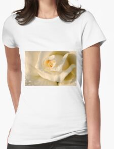 Close up of a beautiful and perfect white rose Womens Fitted T-Shirt